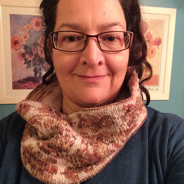 Susan McDonald, wearing her Moonlit Oak Cowl.