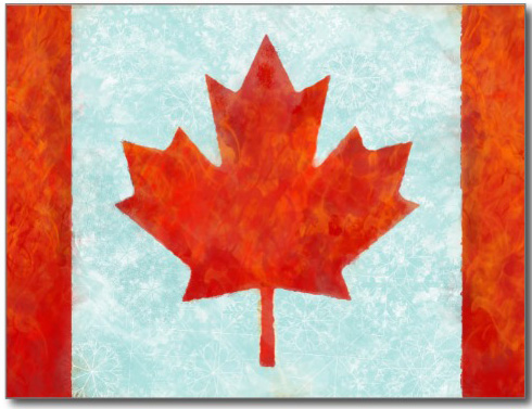 Canadian flag fire and ice postcard