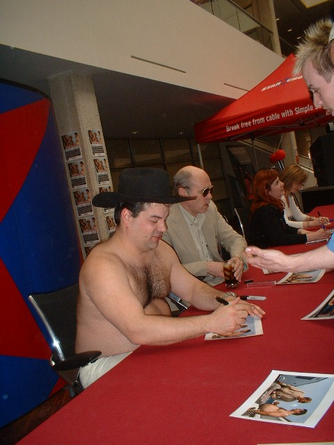 Actors from The Trailer Park Boys signing autographs