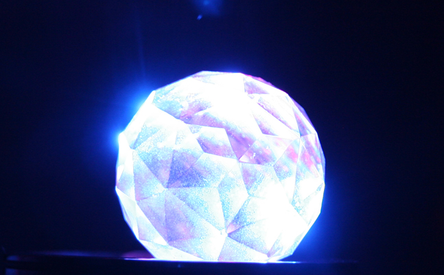 A glowing glass orb.