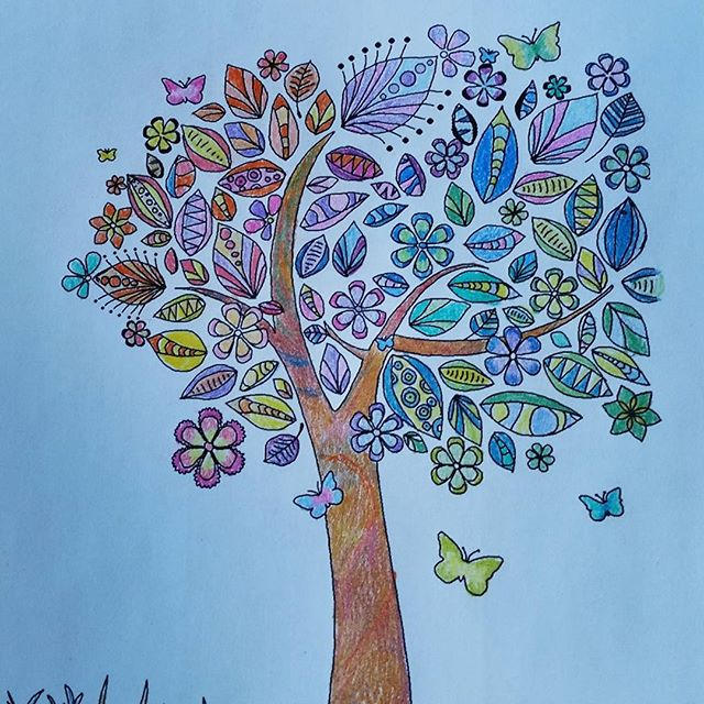 A picture of a tree, coloured by hand.