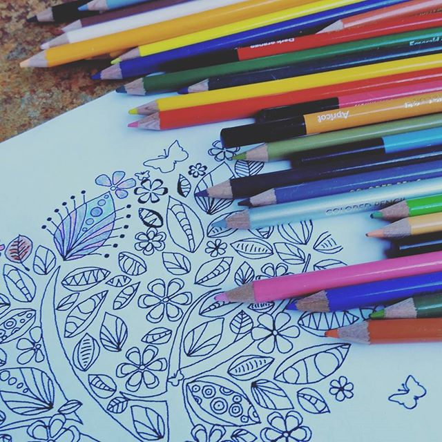 Colourful pencils lying on a colouring page.